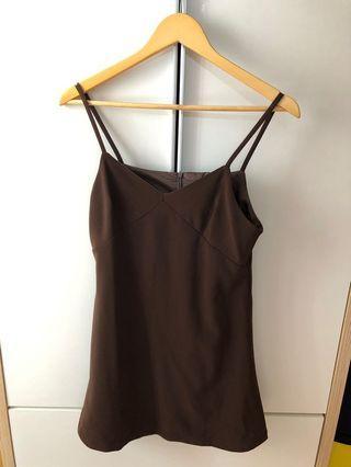 韓國咖啡色背心收腰吊帶裙。氣質小清新