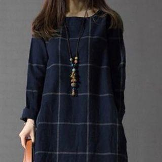 Korean Grid Checkered Oversized High low Long Sleeved Wool Top