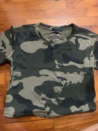 Camo Shirt Crop top with a few slits