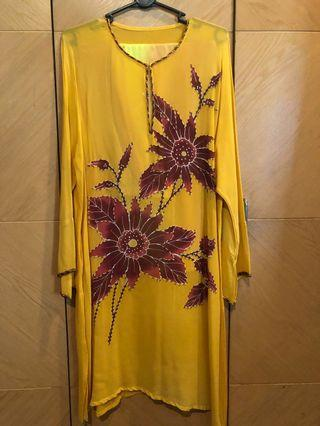 Baju Kurung with Pants Sarong in Yellow Brown