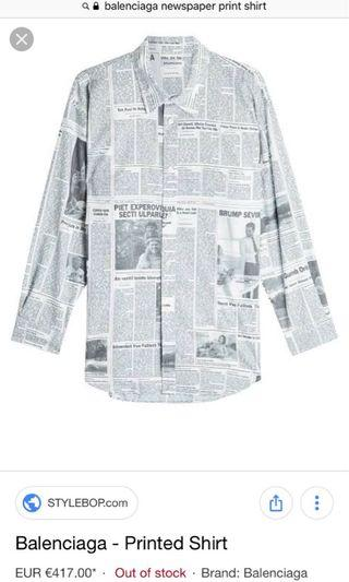 Balenciaga Newspaper Buttondown