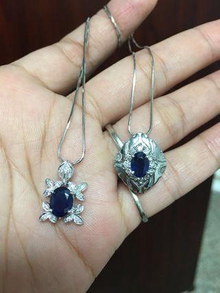 14k金天然藍寶石1克拉鑽石墜子