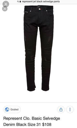 Represent Clo. Jet Black Selvedge Pants