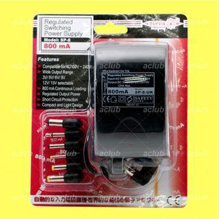 (全新)原裝正貨 - SUPER 800mA AC/DC 電子變壓器 火牛 100V-240V 轉 DC 3V 5V 6V 9V 12V 15V