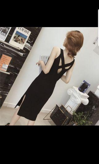 BRAND NEW Black knit dress with cross back detailing