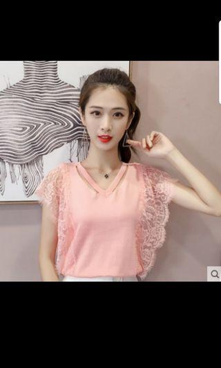 BNWT Pink knit lace top
