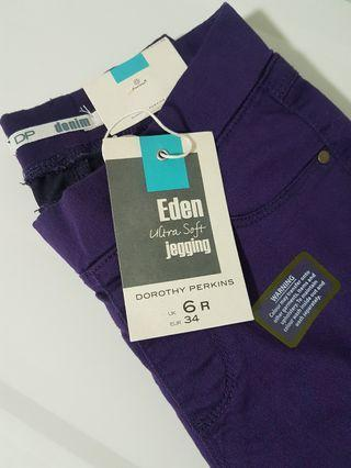 authentic DOROTHY PERKINS ultra soft jeggings eden in dark purple authentic nwt