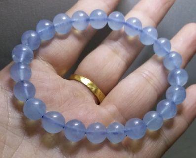 🏝️8.3㎜(01)天然冰種海藍寶冰種潤藍單圈手串手鏈(勇氣之石,三月份的誕生石)