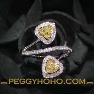 【Peggyhoho】全新18K金 54份彩黃鑽配小鑽共65份鑽石戒指|罕有 Fancy 彩黃心鑽 heart |HK13.5號