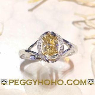 【Peggyhoho】全新18K金單粒56份彩黃蛋形鑽配小鑽 共59真鑽石戒指|罕有半卡彩黃鑽 Fancy Yellow|HK13號