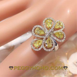 【Peggyhoho】全新18K金 ((1卡89份彩黃鑽))配小鑽共2卡16份鑽石戒指|精緻彩鑽 | 天然Fancy yellow HK13號