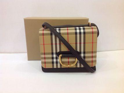 BURBERRY SMALL VINTAGE CHECK D-RING CROSSBODY BAG