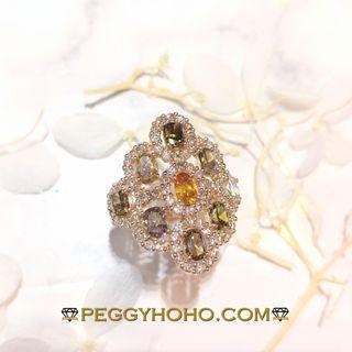 【Peggyhoho】全新18K玫瑰金2卡57份彩鑽配小鑽共3卡61份鑽石戒指 |精緻獨特天然彩鑽| HK14.5