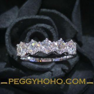 【Peggyhoho】全新18K白金1卡15份超白超閃真鑽戒指 條戒|平均23份一粒 | HK15號