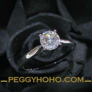 【Peggyhoho】全新18K白金71份天然鑽石 4爪戒指 |白淨好火 | 超值長青 HK13.5
