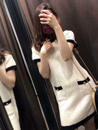 小香風 黑白色 連身裙 Zara 同款 斯文 dress Chanel formal dress pre order