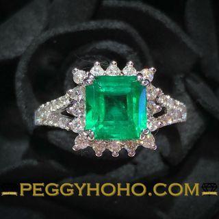 【Peggyhoho】全新18K白金1卡45份天然綠寶石配56份真鑽石戒指| 矜貴靚色 罕有天然EMERALD |HK14.5