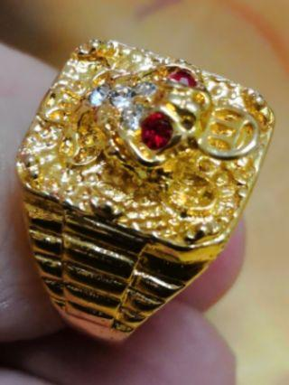 Stainless Steel Gold Plated Wealth Toad Ring
