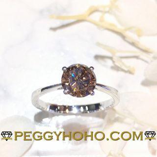【Peggyhoho】全新18K白金單粒1卡13份咖啡彩鑽石戒指|罕有卡裝天然彩鑽 FANCY BROWN |HK13號