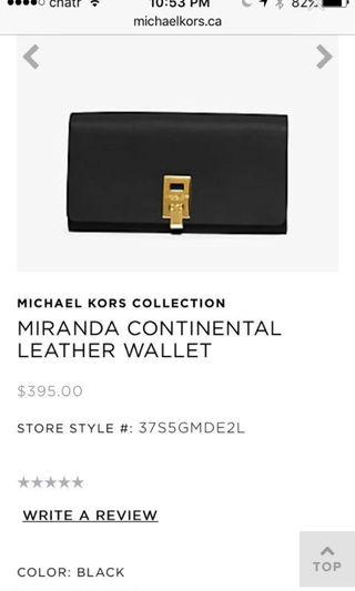 Michael Kors continental collection wallet / clutch