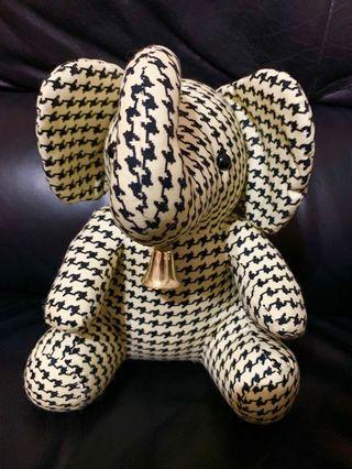 "(99%new) NARAYA black & white cotton sitting 10"" ELEPHANT plush made in THAILAND"
