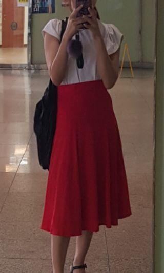 韓式紅色八分長裙 六片裙 高腰 顯瘦 傘裙 浪漫風