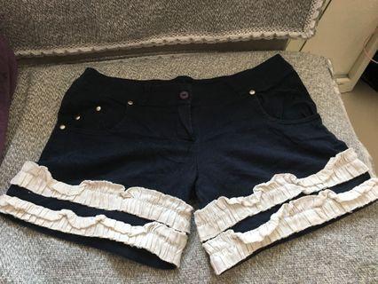 兩邊有袋深藍色短褲