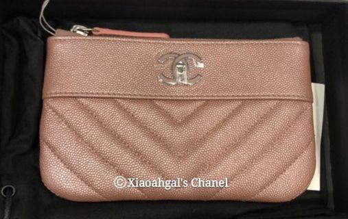 🌟BIDDING Unicorn piece!!🌟 19P Chanel iridescent pink rose gold cavair ocase wallet clutch pouch