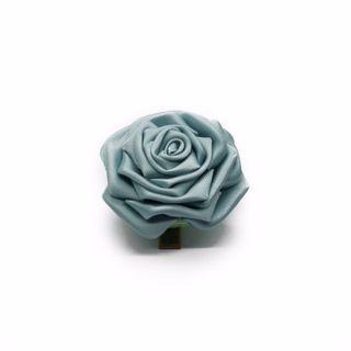 Tsumami kanzashi rose in aquamarine blue, Traditional Japanese hair accessory