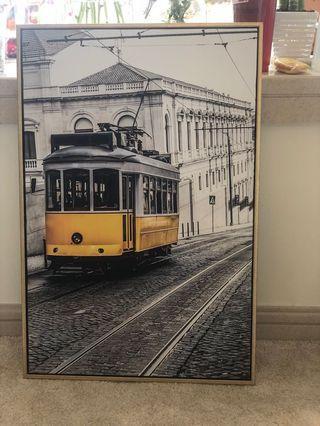 Brand NEW Paris hill art work with golden frame