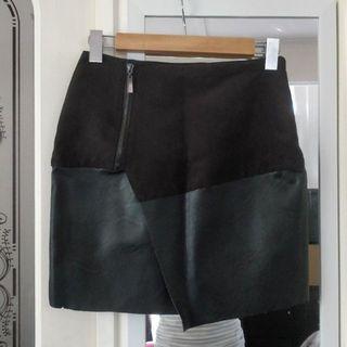 AMISU Black Mini Skirt Asymmetric Hem Wrap Detail Leather Look Suede Bodycon Nastygal Missguided Princess Polly Festival Biker