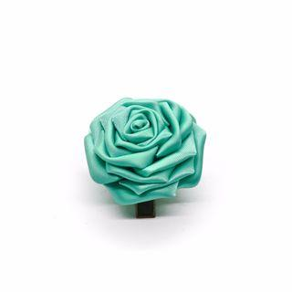 Tsumami kanzashi rose in turquoise blue, Traditional Japanese hair accessory