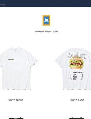 「近全新」潮牌 T-shirt t恤 漢堡 印花 街頭 時尚 短袖 上衣