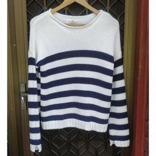 H&M Striped Thick Knit Jumper Navy White Knitted Top Topshop Missguided Forever 21 Nastygal Unif Cable Knit PrettyLittleThing