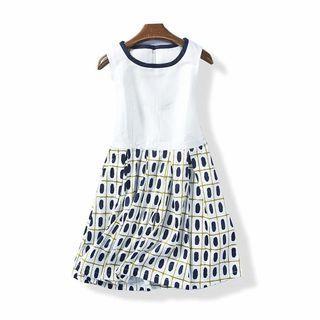韓版無袖圓領小洋裝白底藍花綿微彈性休閒