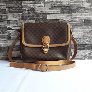 Authentic Celine Paris Brown Macadam Monogram Canvas Leather Trim Crossbody Sling Bag Made in Italy Code M12 One Size