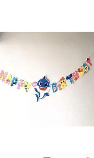 Instock now!! Happy birthday baby shark theme party / birthday party banner Ht 33cm (blue shark) other party items for baby shark pm me for details