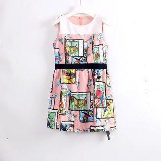 韓版圓領無袖 連衣裙洋裝 粉色白花繪毛料 造型