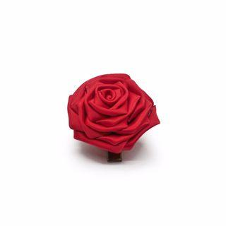 Tsumami kanzashi rose in fiery red, Traditional Japanese hair accessory