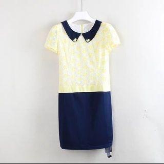 韓版翻圓領短袖 連衣裙黃蕾絲藍綿洋裝  造型