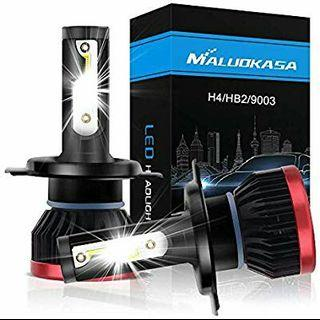 H4 LED Headlight Bulb Conversion Kit, Maluokasa HB2 / 9003 Hi/Lo Beam 10000lm 6500k 50W All-in-One DOB Chips Cool Xenon White DOT Approved