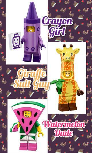 Lego Giraffe, Crayon Girl, Watermelon Dude From The Lego Movie 2 TLM2 Minifigures 71023 Set of 3 Sealed Packs (Mascot Food Animals) Not Disney Series 2 71024