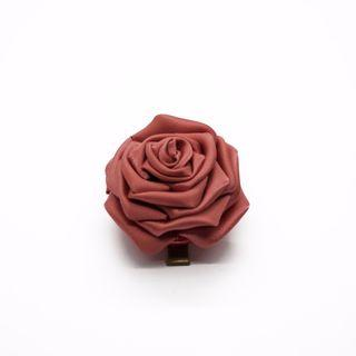 Tsumami kanzashi rose in cinnabar red, Traditional Japanese hair accessory