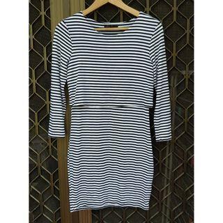 TEMT Striped Mini Dress Long Sleeve Double Layered Basic Bodycon