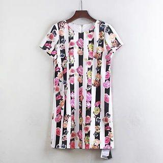 🚚 韓版圓領短袖 連衣裙直條玫瑰花及膝洋裝微彈性  造型