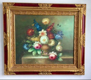 Vintage Mix Flowers Oil Painting Beautiful Frame