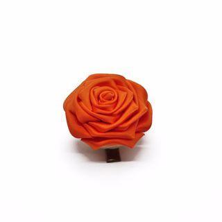 Tsumami kanzashi rose in sunset orange, Traditional Japanese hair accessory