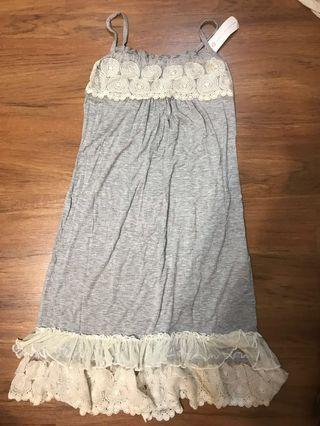 Lace Detailed Grey Inner Dress (from Korea)