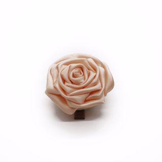 Tsumami kanzashi rose in smoothskin peach, Traditional Japanese hair accessory