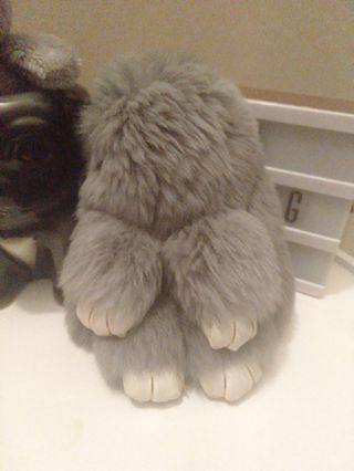 Grey bunny bag charm